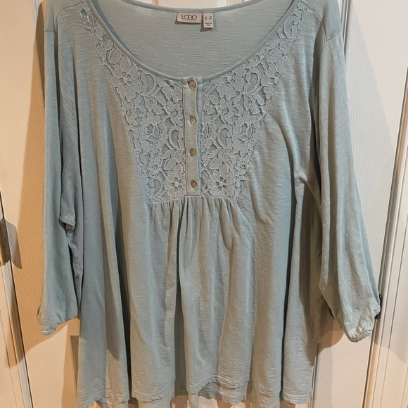 Light blue cotton peasant top with lace, 3X